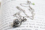 Large Forest Snail Necklace | Silver Snail Charm Necklace | Cute Woodland Snail Pendant