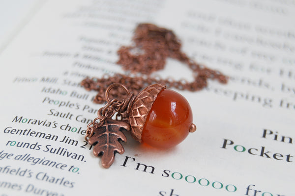 Carnelian and Copper Acorn Necklace | Gemstone Acorn Charm Necklace | Cute Autumn Necklace | Nature Jewelry - Enchanted Leaves - Nature Jewelry - Unique Handmade Gifts