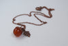Carnelian and Copper Acorn Necklace
