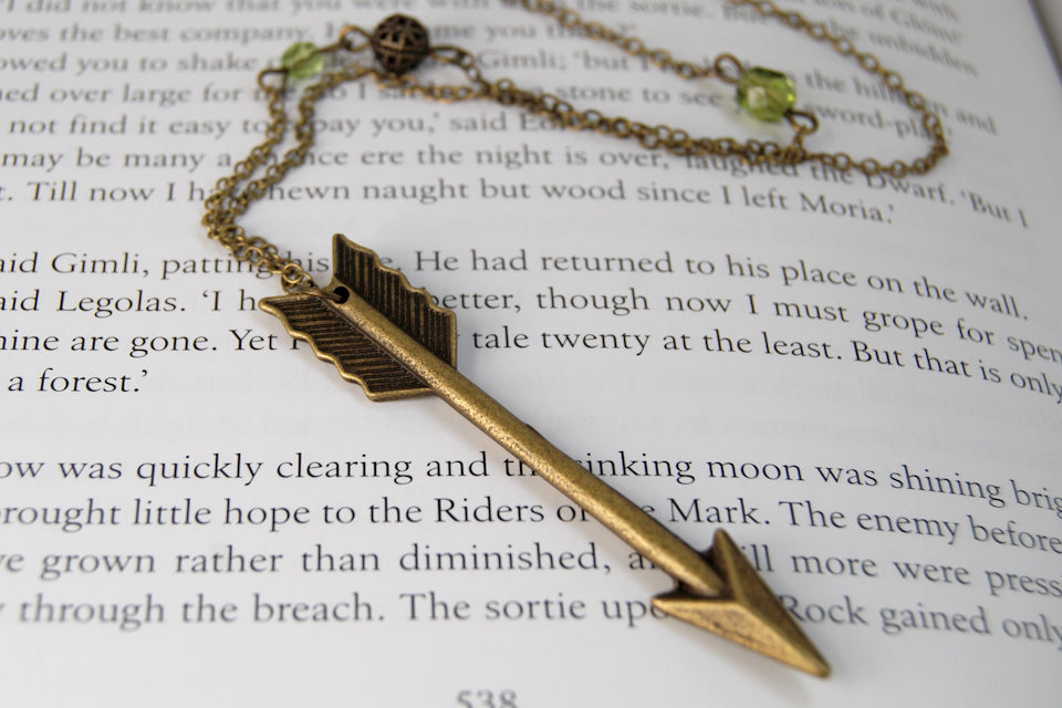 Elven Arrow | Brass Arrow Charm Necklace | Large Arrow Pendant - Enchanted Leaves - Nature Jewelry - Unique Handmade Gifts