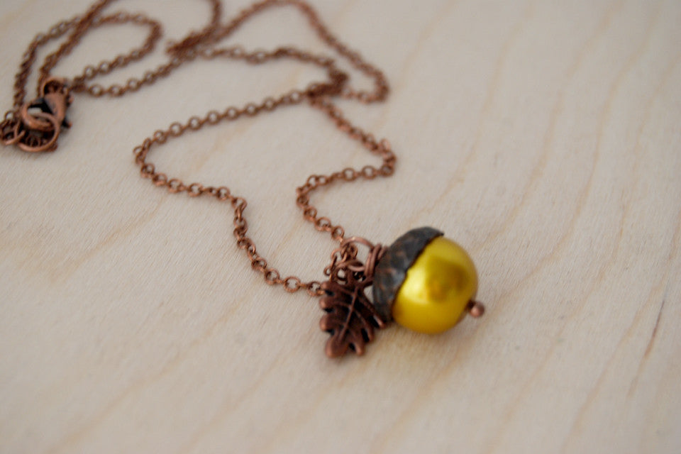 Copper and Golden Pearl Acorn Necklace | Pearl Acorn Necklace | Cute Acorn Charm Necklace | Woodland Forest Necklace - Enchanted Leaves - Nature Jewelry - Unique Handmade Gifts