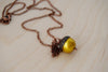 Copper and Golden Pearl Acorn Necklace