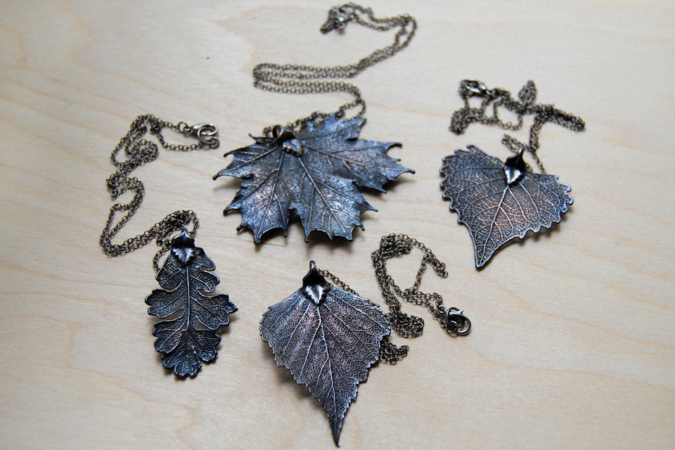 Large Antiqued Fallen Leaf Necklace | Electroformed Nature | Fall Leaf Necklace - Enchanted Leaves - Nature Jewelry - Unique Handmade Gifts