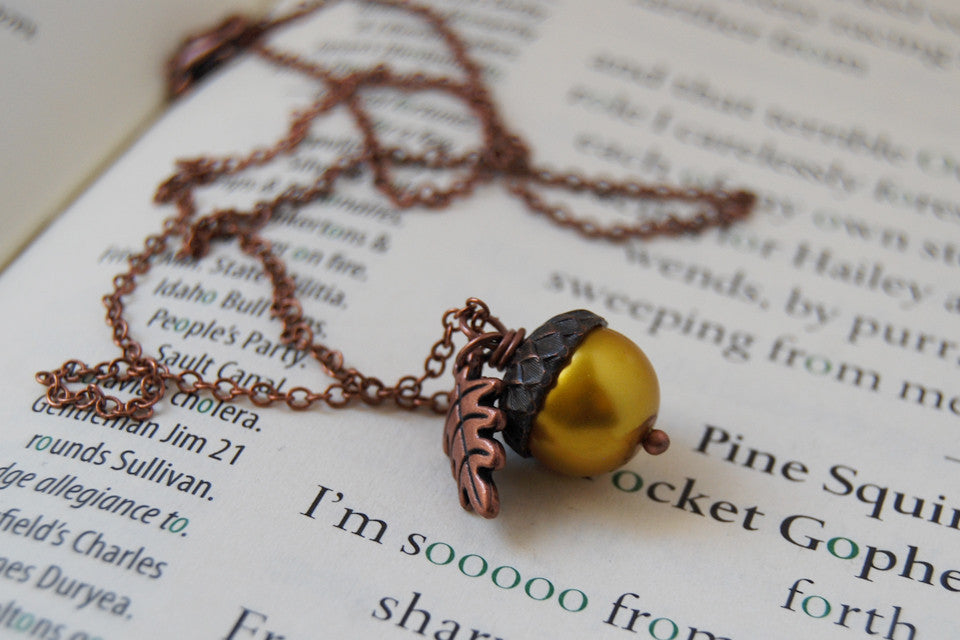 Copper & Golden Pearl Acorn Necklace | Fall Nature Jewelry | Woodland Gold Acorn Charm Necklace - Enchanted Leaves - Nature Jewelry - Unique Handmade Gifts