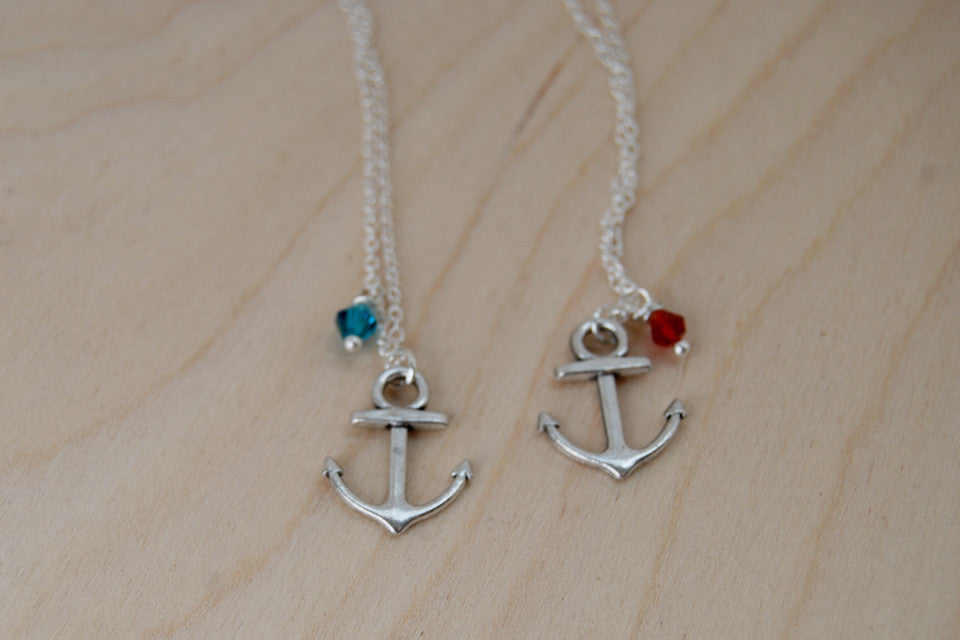 Anchor BFF Necklace (Sold Singly) | Silver Anchor Charm | Nautical Bridesmaid Gifts | Best Friend Charm Necklace - Enchanted Leaves - Nature Jewelry - Unique Handmade Gifts