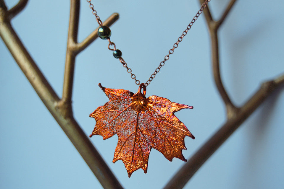 Custom Medium Copper Maple Leaf Necklace | Electroformed Jewelry | Real Maple Leaf Pendant | Nature Jewelry | Fall Leaf Necklace - Enchanted Leaves - Nature Jewelry - Unique Handmade Gifts