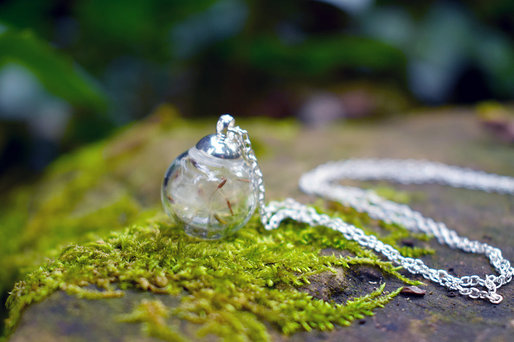 Small Dandelion Wish Bubble Necklace | Glass Dandelion Necklace | Real Dandelion Wishes Pendant - Enchanted Leaves - Nature Jewelry - Unique Handmade Gifts