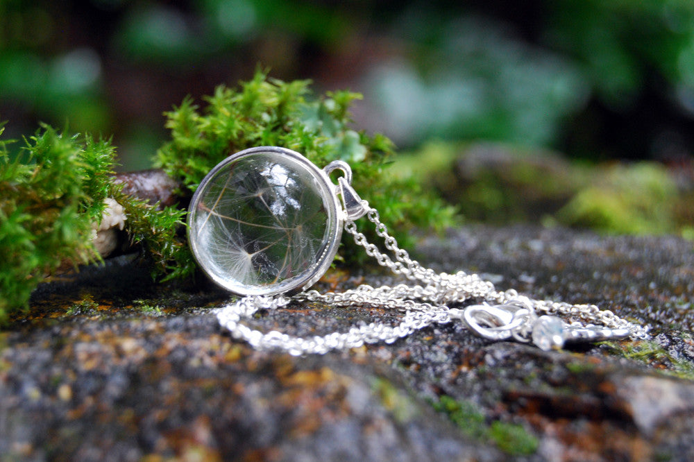Dandelion Wishes Necklace | Glass Terrarium Necklace | Dandelion Wish Pendant | Whimsical Necklace - Enchanted Leaves - Nature Jewelry - Unique Handmade Gifts