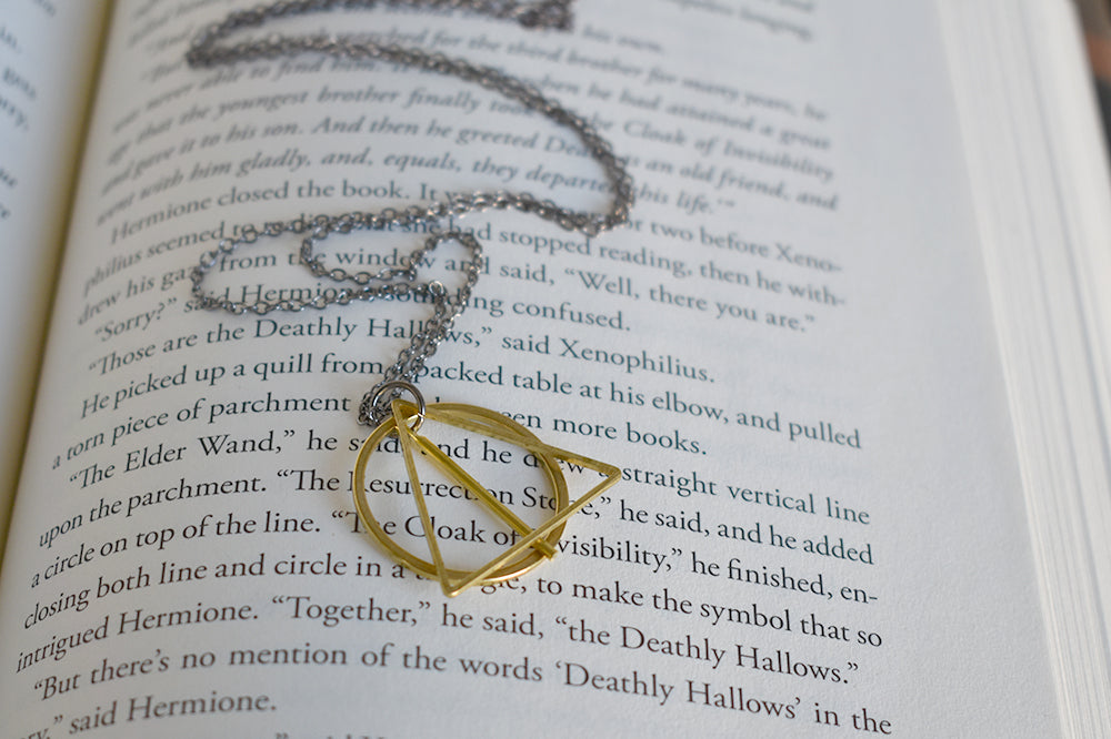 The Wand, the Stone & the Cloak | Deathly Hallows Charm | Harry Potter Necklace |  Deathly Hallows - Enchanted Leaves - Nature Jewelry - Unique Handmade Gifts