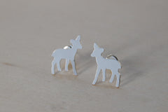 Silver Deer Stud Earrings | Woodland Forest Earrings