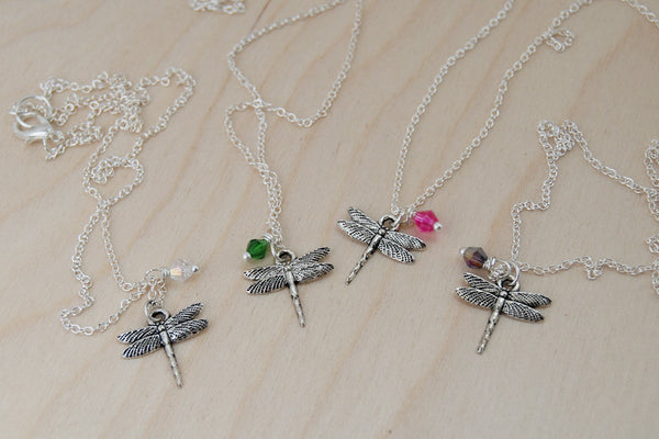 Dragonfly BFF Necklace (Sold Singly) | Best Friend Necklace | BFF Jewelry | Silver Dragonfly Charm Necklace - Enchanted Leaves - Nature Jewelry - Unique Handmade Gifts