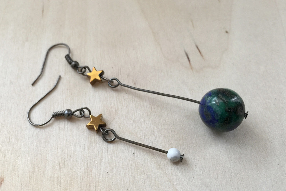Earth & Moon Earrings | Gemstone Space Planet Earrings | Unique Science Charm Earrings - Enchanted Leaves - Nature Jewelry - Unique Handmade Gifts