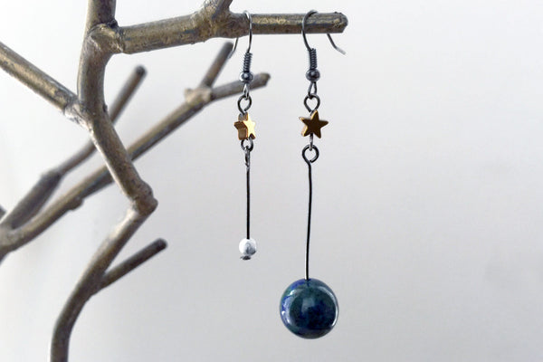 Earth & Moon Earrings | Gemstone Space Planet Earrings | Unique Science Charm Earrings | Earth Earrings - Enchanted Leaves - Nature Jewelry - Unique Handmade Gifts