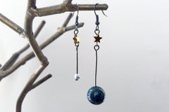 Earth & Moon Earrings | Gemstone Space Planet Earrings | Unique Science Charm Earrings | Earth Earrings