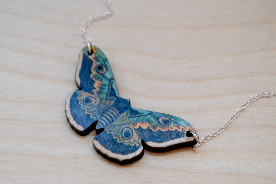 Emperor Moth Necklace | Moth Charm Necklace | Woodland Forest Moth - Enchanted Leaves - Nature Jewelry - Unique Handmade Gifts