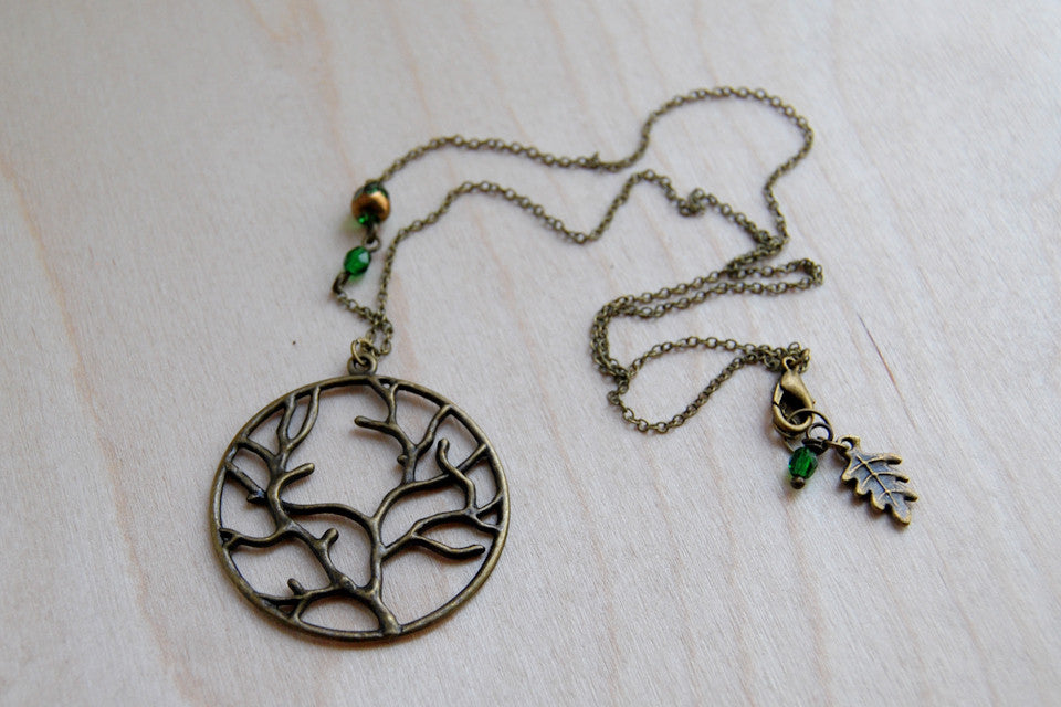 Fangorn Forest | Brass Tree Charm Necklace | Woodland Forest Pendant - Enchanted Leaves - Nature Jewelry - Unique Handmade Gifts