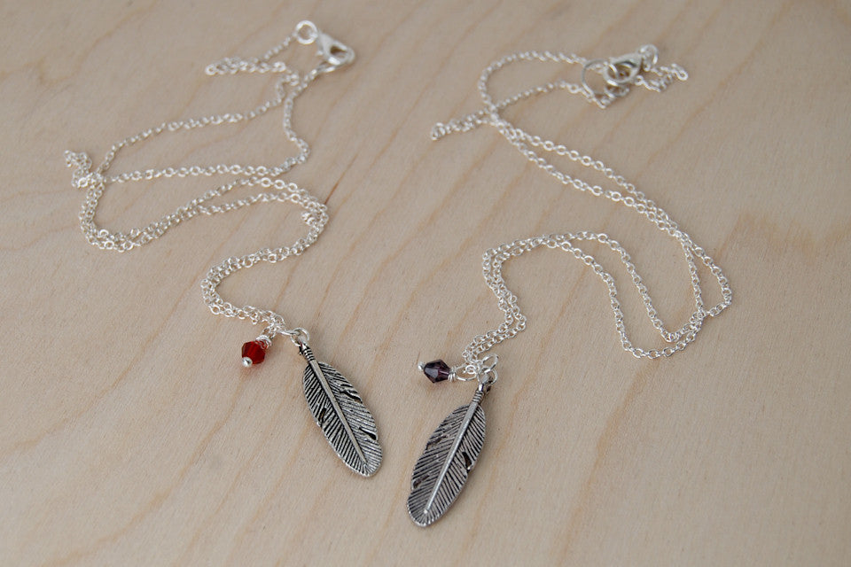 Birds of a Feather BFF Necklace (Sold Singly) | Silver Feather Charm | Nature Bridesmaid Gifts | Best Friend Charm Necklace - Enchanted Leaves - Nature Jewelry - Unique Handmade Gifts