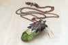 Oak Forest Crystal Necklace | Electroformed Crystal | Green Crystal Nature Jewelry | - PRE-ORDER ONLY - Enchanted Leaves - Nature Jewelry - Unique Handmade Gifts