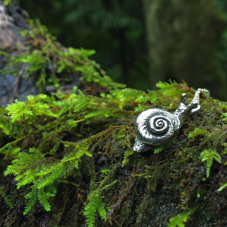 Large Forest Snail Necklace | Silver Snail Charm Necklace | Cute Woodland Snail Pendant - Enchanted Leaves - Nature Jewelry - Unique Handmade Gifts