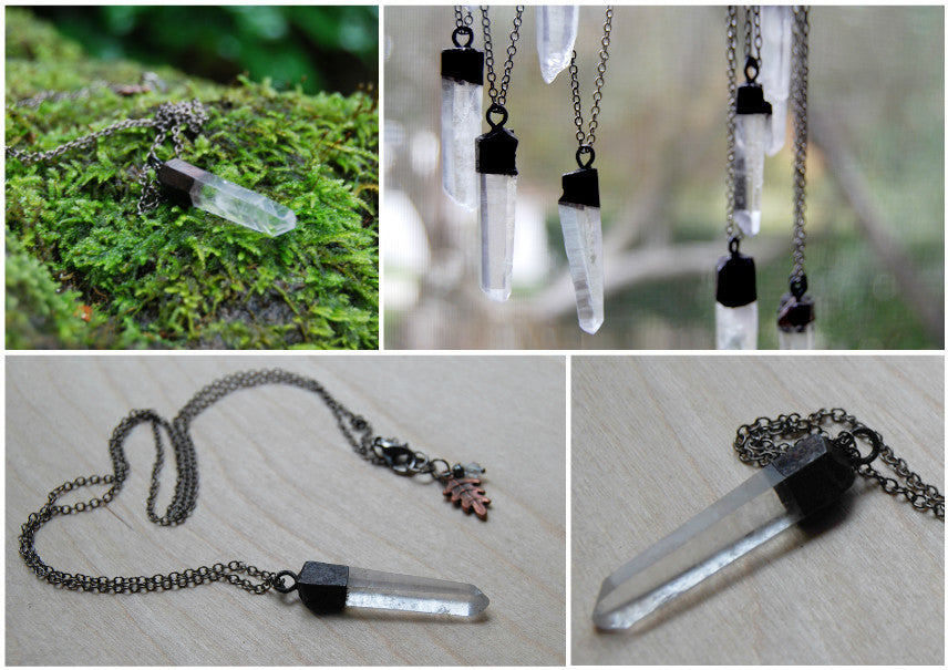 Antiqued Crystal Quartz Necklace | Electroformed Pendant | Crystal Quartz Necklace - Enchanted Leaves - Nature Jewelry - Unique Handmade Gifts