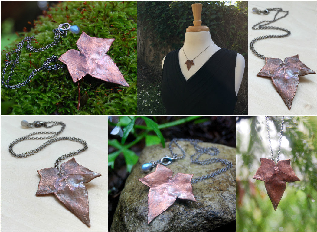 Copper Ivy Leaf Necklace | Electroformed Real Ivy Leaf Pendant | Woodland Nature Jewelry - Enchanted Leaves - Nature Jewelry - Unique Handmade Gifts