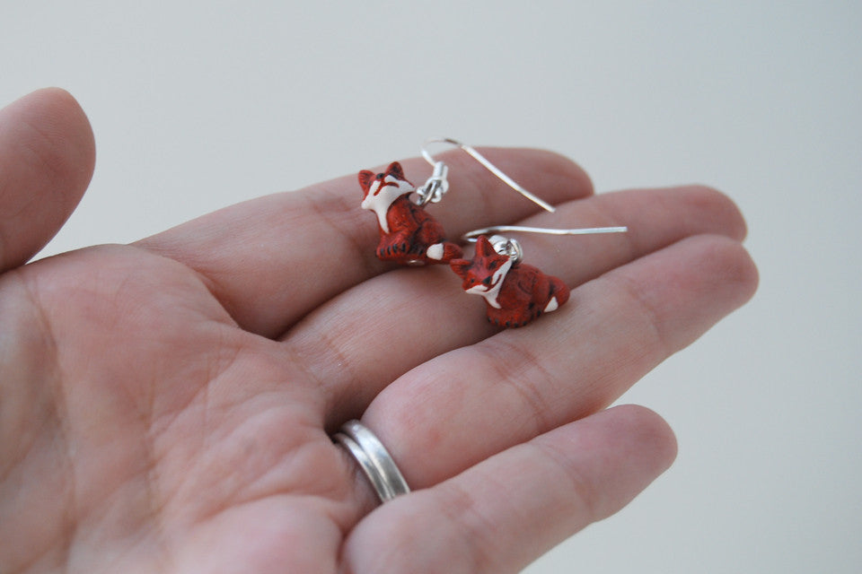 Little Red Fox Earrings | Fox Charm Earrings | Woodland Jewelry - Enchanted Leaves - Nature Jewelry - Unique Handmade Gifts