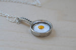 Sunny Side Up! | Egg in a Pan Charm Necklace | Breakfast Foods Jewelry - Enchanted Leaves - Nature Jewelry - Unique Handmade Gifts