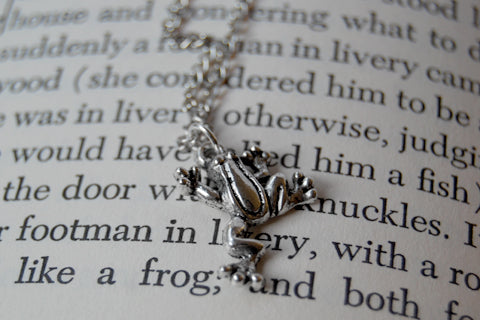 Silver Frog Necklace | Frog Charm Necklace | Cute Frog Jewelry - Enchanted Leaves - Nature Jewelry - Unique Handmade Gifts