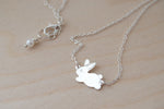 Frolicking Rabbit Necklace | Cute Bunny Rabbit Charm Necklace | Woodland Jewelry - Enchanted Leaves - Nature Jewelry - Unique Handmade Gifts