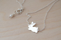 Frolicking Rabbit Necklace | Cute Bunny Rabbit Charm Necklace | Woodland Jewelry