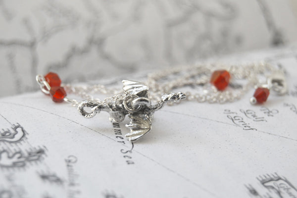 Teeny Tiny Silver Dragon Necklace | Cute Fantasy Charm Necklace | Dragon Charm Necklace - Enchanted Leaves - Nature Jewelry - Unique Handmade Gifts
