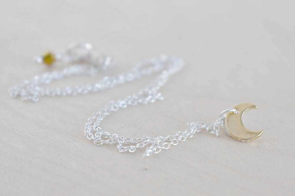 Golden Moon Necklace | Little Crescent Moon Charm Necklace | Lunar Jewelry - Enchanted Leaves - Nature Jewelry - Unique Handmade Gifts