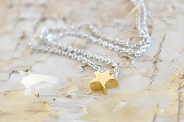 Teeny Tiny Gold Star Necklace | Cute Little Star Charm Necklace | Simple Jewelry - Enchanted Leaves - Nature Jewelry - Unique Handmade Gifts