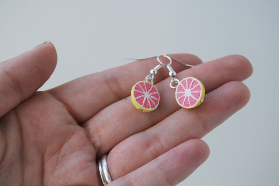 Fresh Grapefruit Earrings | Handmade Grapefruit Charm Earrings - Enchanted Leaves - Nature Jewelry - Unique Handmade Gifts