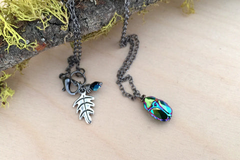 Iridescent Green Beetle Necklace | Cute Insect Charm Necklace | Nature Jewelry