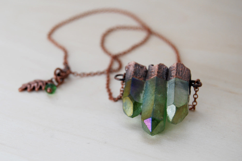 Green Forest Aura Crystal Trio Necklace | Electroformed Crystal Necklace | Green Quartz Pendant - Enchanted Leaves - Nature Jewelry - Unique Handmade Gifts
