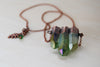 Green Forest Aura Crystal Trio Necklace