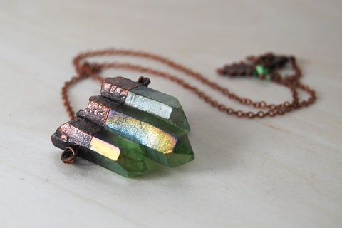 Green Forest Aura Crystal Trio Necklace | Electroformed Crystal Necklace | Green Quartz Pendant