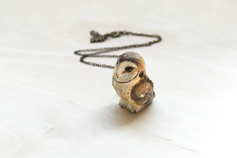 Barn Owl Necklace | Handmade Owl Pendant | Owl Totem | Forest Owl Charm - Enchanted Leaves - Nature Jewelry - Unique Handmade Gifts