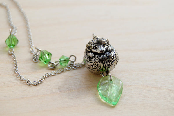 Happy Hedgehog Necklace | Cute Hedgehog Charm Necklace | Forest Hedgehog Pendant - Enchanted Leaves - Nature Jewelry - Unique Handmade Gifts