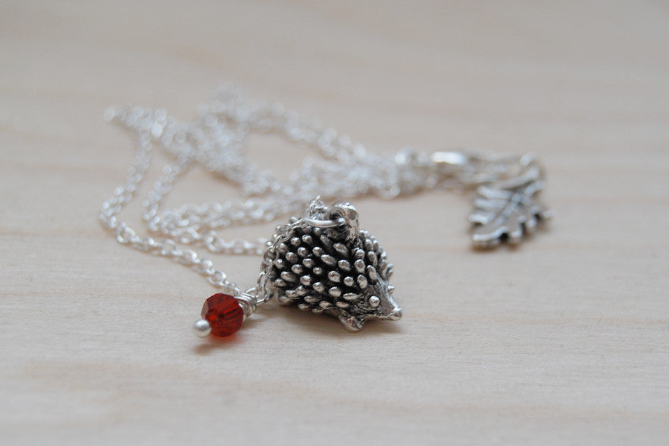 Hedgehog BFF Necklace (Sold Singly) | Best Friend Charm Necklace | Silver Hedgehog Charm Necklace | BFF Gift - Enchanted Leaves - Nature Jewelry - Unique Handmade Gifts