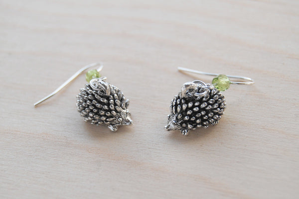 Adorable Teeny Tiny Hedgehog Earrings | Cute Silver Hedgehog Charm Earrings | Forest Hedgehogs - Enchanted Leaves - Nature Jewelry - Unique Handmade Gifts
