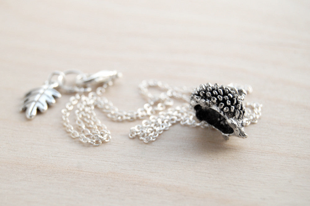 Teeny Tiny Hedgehog Necklace | Cute Silver Forest Hedgehog Charm Necklace | Hedgie Jewelry - Enchanted Leaves - Nature Jewelry - Unique Handmade Gifts