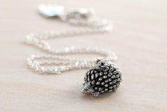 Teeny Tiny Hedgehog Necklace | Cute Silver Forest Hedgehog Charm Necklace | Hedgie Jewelry