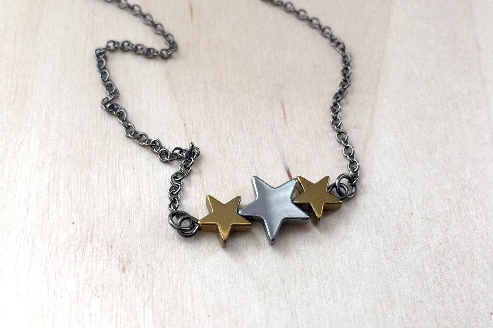 Hematite Star Trio Necklace | Star Charm Necklace | Space Jewelry - Enchanted Leaves - Nature Jewelry - Unique Handmade Gifts