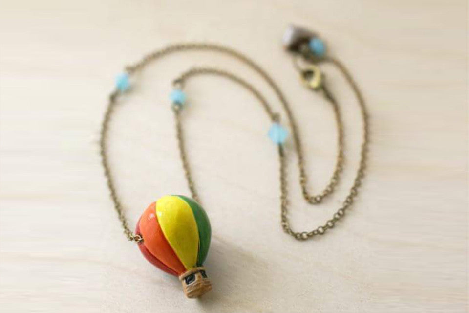 Bon Voyage! | Hot Air Balloon Necklace | Whimsical Charm Jewelry - Enchanted Leaves - Nature Jewelry - Unique Handmade Gifts