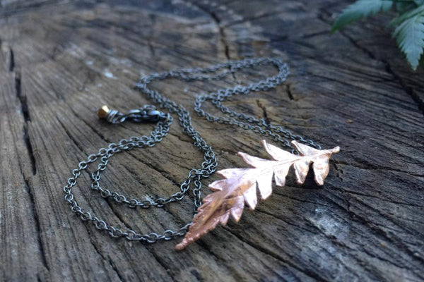 Copper Fern Necklace | Electroformed Nature | Real Fern Pendant | Woodland Jewelry *PREORDER ONLY*