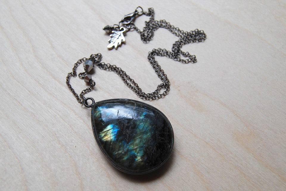 Giant Labradorite Teardrop Necklace | Gemstone Jewelry | Labradorite Crystal Necklace - Enchanted Leaves - Nature Jewelry - Unique Handmade Gifts