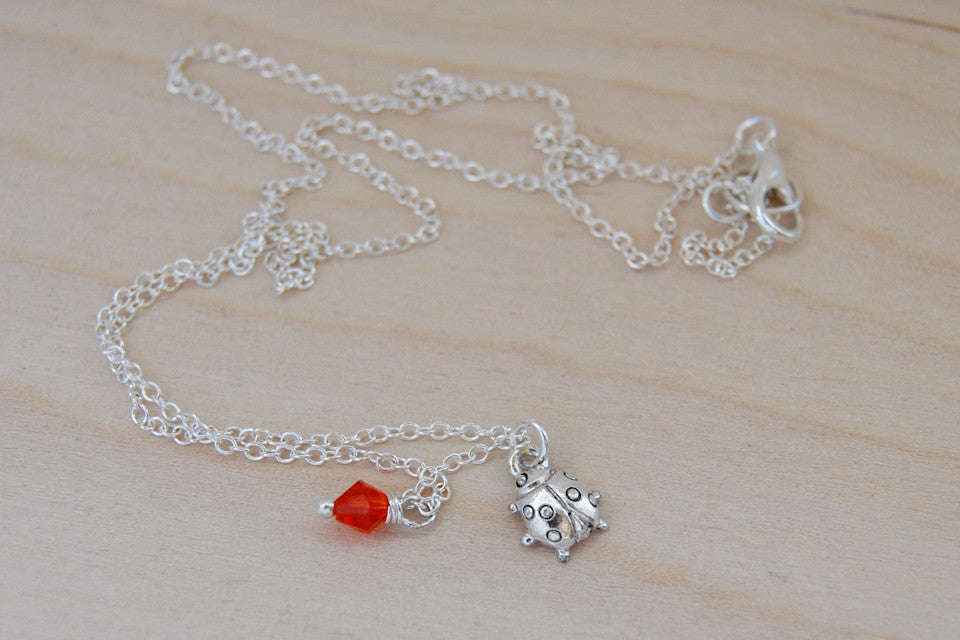 Ladybug BFF Necklace (Sold Singly) | Best Friend Charm Necklace | BFF Ladybug Jewelry - Enchanted Leaves - Nature Jewelry - Unique Handmade Gifts