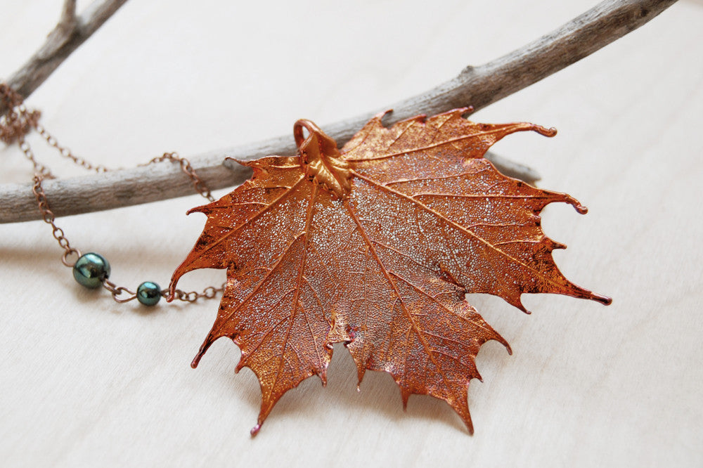 Custom Large Copper Maple Leaf Necklace | REAL Maple Leaf Pendant | Electroformed Nature Jewelry - Enchanted Leaves - Nature Jewelry - Unique Handmade Gifts